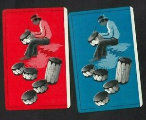 2 VINTAGE SWAP PLAYING CARDS ART DECO SOUTH AMERICAN AZTEC INDIANS DRUM MAKER