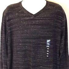 Rock & Republic Men's V-Neck L/S Sweater Stretch Black Gray Striped Size XXL NWT
