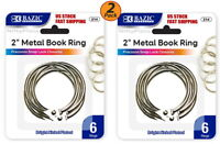 "2 Pack - 2"" Inch Metal Silver Color Book Rings 6 Per Pack, Home, School, Office"