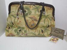 Vintage BRIGHTON® XL Desert Camel Monkeys Traveler Print Tapestry Tote/Handbag