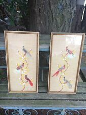 Vintage set of hand painted bird pictures with real feathers! Beautiful!