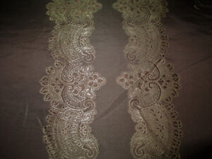 Fabric Robert Allen Beacon Hill Le Reve Sable Silk Embroidered Drapery II12