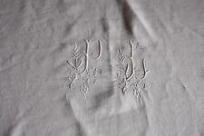 Nappe N°5 ancienne en fil de lin avec liteau et monogramme 143 x 159 cm