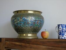 Chinese brass and champleve enamel jardiniere antique planter pot bronze vintage