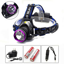 New 5000LM LED Headlamp Headlight Head Torch Light + 2x18650 + Charger