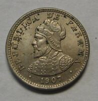 1907 Panama 1/2 Centesimo RARE Double Die Obverse AU One Year Type Coin    p10