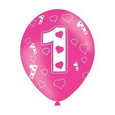 6 paquets âge 1 rose amour Cœurs Latex Ballon Anniversaire Décoration de fête