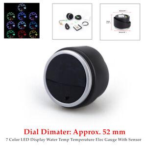 2''52mm 12V Black 7 Color LED Water Coolant Temperature Temp Gauge Meter - °F