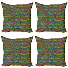 Ambesonne Fish Theme Cushion Cover Set of 4 for Couch and Bed in 4 Sizes