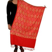Sanskriti New Indian Scarf Hand Embroidered Aari Work Polywool Shawl Red Stole