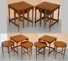 RARE PAIR OF MILITARY CAMPAIGN SIDE TABLES WITH TWO FOLDED ROUND TABLES NESTED