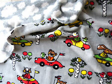 Doppelseitig Fleece Teddy Teddybär Autos Wolken Kinderstoff Meterw. grau 23100