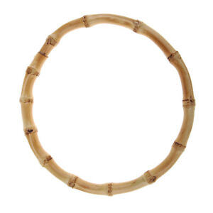 Replacement Natural Bamboo Round Bag Handles Ring DIY Vintage Brown 15cm