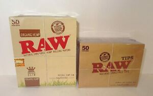50 RAW ORGANIC Kingsize Slim Rolling Papers & 50 Raw Tips - Authentic UK Stock