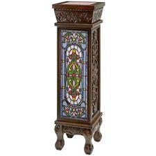 """35"""" Ornate Handcarved Wooden Lighted Pedestal Stand"""