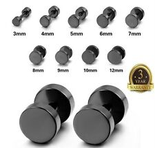 Fake Ear Plug Pierced Black Men's Stainless Steel Studs Earrings