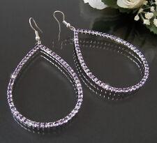 Women's Earrings Silver Drop 7,5cm Rhinestone Lilac Fashion Jewellery Oval