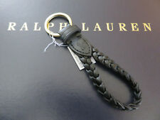 Polo RALPH LAUREN POLO Black Leather Braided FOB Key Chain Keychain Keyring