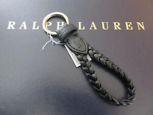 Polo RALPH LAUREN FOB Key Chain Black Leather Braided Keychain Keyring