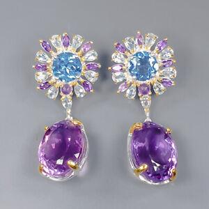 Set jewelry Design Amethyst Earrings Silver 925 Sterling   /E50831