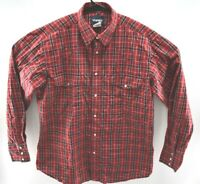 Wrangler Mens Pearl Snap Western Cowboy Shirt Long Sleeve Red Plaid Size Large