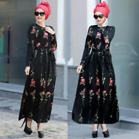 Women Muslim Flower Printed Long Maxi Dress Abaya Jilbab Ramadan Cocktail Robe