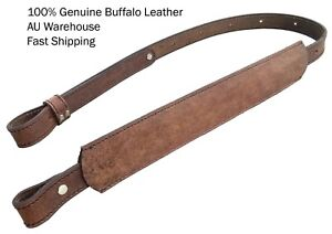 Real Leather Rifle Sling wide shoulder padded 1 inch hunting gun comfortable AUS
