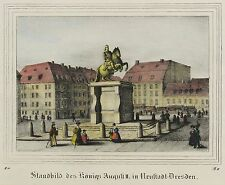 DRESDEN - Neustädter Markt - Goldener Reiter - kolorierte Lithografie 1836