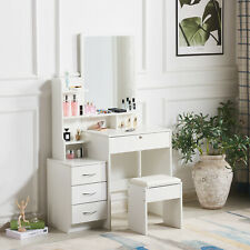 Modern White Dressing Table Jewelry Makeup Desk w/ Mirror, Stool Set & 4 Drawers