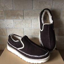 UGG Neumel Stout Brown Suede Sheepskin Slip-on Stitch Slippers Shoes Size 11 Men