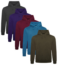 Mens Plain Hoodies Long Sleeve Hooded Regular Fit Casual Pullover Sweater Tops