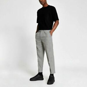 River Island Mens Brown Dogtooth Check Pleated Trousers