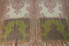 """Antique Paisley Shawl with Arabesque Designs & Coral Center, 19th C (125"""" X 58"""")"""