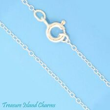 """18"""" Fine Oval Rolo Link .925 Solid Sterling Silver Chain Necklace 1x1.5mm"""