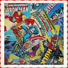 BonEful Fabric FQ Cotton Quilt VTG Super Hero Captain America Iron Man Wolverine