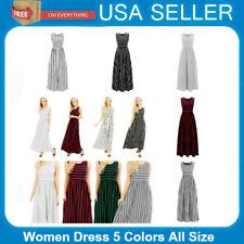 Women Sleeveless Dress Vest Defined Waist Floor-length Dress Striped Pattern US