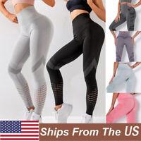 Women High Waist Yoga Pants Seamless Leggings Sport Fitness Stretch Trousers Gym