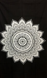 Bedspread Ethnic Flower Mandala Design Twin Tapestry 100% Cotton Wall Hanging