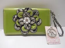 Flower rhine stone lime green checkbook wallet w/zipper closure and handle