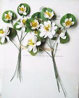 2  Antique Vintage Water White Lily Millinery Hat Flower Original Tag UNUSED