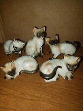 Five Bone China Vintage Siamese Cat Figurines Lefton Tagged Gorgeous!