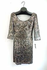 NWT GUESS Gold Copper Sequin Body Con Three Quarter Sleeve Fancy Dress 6 RV $148