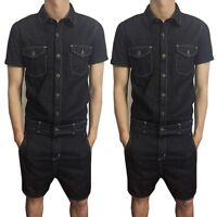 New Fashion Mens Denim Jumpsuits Short Sleeve One-Piece Overalls Bib Pants Jeans