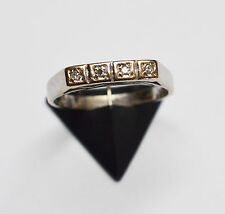 Damenring Damen Ring 14 Karat 585 Gold Weißgold 4 Diamanten um 1920 Gr. 51