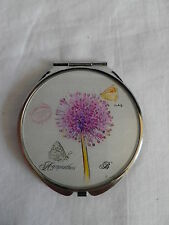 HANDBAG SIZED DOUBLE MIRRORED METAL COMPACT.ALLIUM FLOWER & BUTTERFLY DESIGN.NEW