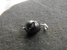 925 silver carved egg black PEARL PENDANT MOON OOAK #15