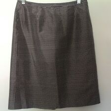 Josephine Chaus 100% Silk Skirt Straight White/Black Side ZIP Career Work Size 8
