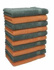 Betz 10 Toallas para invitados PREMIUM 100% algodón 30x50cm naranja y antracita
