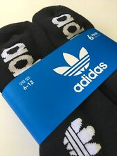 New Mens Adidas Logo 6 Pack Sport Gym Fitness Street Black Quarter Cut Socks