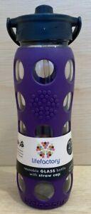 Lifefactory BPA Free 22 oz Glass Water Bottle Silicone Grip w/ Straw Sports Yoga